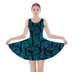 CowCow Womens Turquoise Ravens Skater Dress, Turquoise - ...