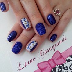 Blue Nail Art Ideas for 2018 – Top 150 Designs Perfect Nails, Gorgeous Nails, Pretty Nails, Nail Time, Crazy Nails, Flower Nail Art, Hot Nails, Blue Nails, Summer Nails