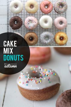 How to make cake mix donuts! This easy donut recipe is baked, not fried, and only takes 15 minutes start to finish.