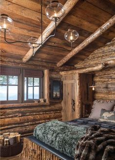 Log Home Bedroom by Pearson Design Group