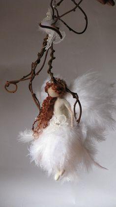 Needle felted fairy Fairy doll Fiber art Waldorf inspired