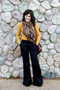 Wide leg pants, simple top, fun scarf