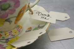 Set of 24 Small Ivory Card Luggage Tags - Wedding in a Teacup
