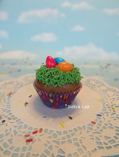 Fake Cupcake Handmade Easter Spring Faux Candy Eggs Jelly Beans Rabbit Home Decor - Imagine Out Loud