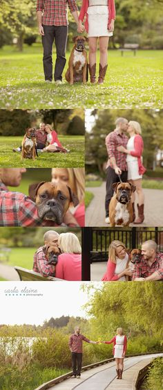 trendy wedding pictures with dogs engagement shots.