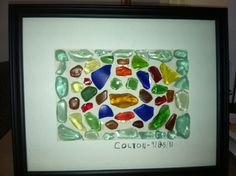 Mosaic Collage made from Lake Erie sea glass. Ideas for what to do with ours- Collage Making, Mosaic Ideas, Lake Erie, Sea Glass, Creativity, Paintings, Frame, Crafts, Inspiration