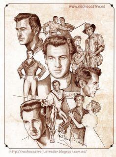 "Stewart Granger,illustration from the book ""Hombres de Hollywood"".Nacho Castro.Diábolo ediciones"