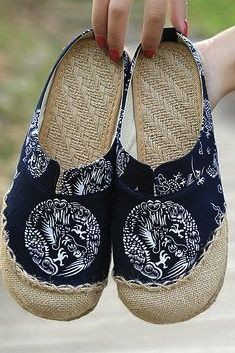 Dargon Flower Print Flax Open Heel Color Match National Wind Slip On Flat Shoes is cheap and comfortable. There are other cheap women flats and loafers online. Loafer Shoes, Loafers, Women's Shoes, Gothic, Slip On Mules, Pretty Shoes, Chen, Mode Inspiration, Summer Shoes