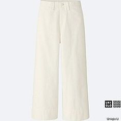 WOMEN U DENIM WIDE LEG PANTS, WHITE, medium