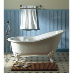 Herbeau 0706 charleston 5.5 foot cast iron clawfoot soaking tub with center…