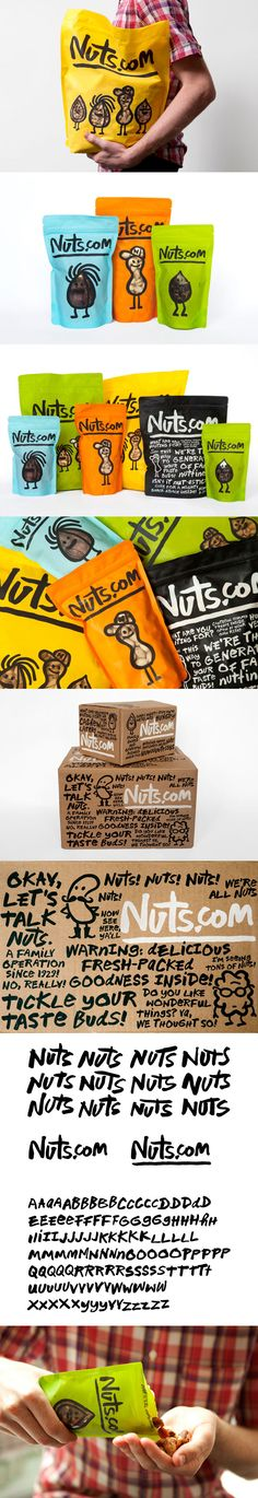 Expanded Nuts.com #packaging by Pentagram. Michael Bierut, partner-in-charge and designer; Katie Barcelona and Aron Fay, designers. Illustrations by Christoph Niemann. Font design by Jeremy Mickel based on a hand-drawn alphabet by Michael Bierut. PD..