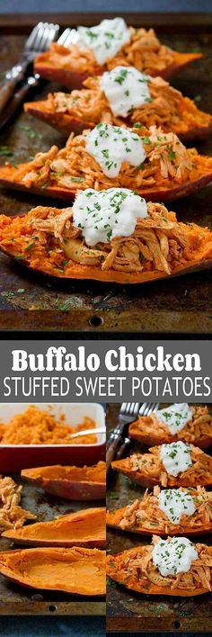These Buffalo Chicken Stuffed Sweet Potatoes are topped with a light blue cheese yogurt sauce. An easy weeknight dinner recipe! 239 calories and 6 Weight Watchers SmartPoints Ww Recipes, Dinner Recipes, Cooking Recipes, Healthy Recipes, Dinner Ideas, Low Carb Chili, Buffalo Chicken, Sweet Potato Recipes, Chicken Recipes