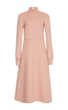 This **Rochas** dress features a turtleneck collar, full length sleeves, and a midi length.