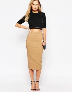 Image 1 ofASOS High Waist Longerline Pencil Skirt