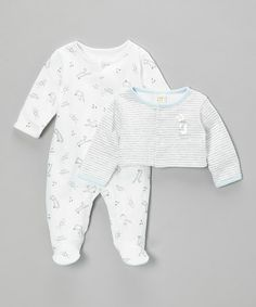 Take a look at this White 'ABC' Footie & Stripe Cardigan - Infant by Absorba on #zulily today!