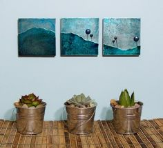 Shoply.com -Blue Meadow Landscape SET of 3 etched metal artwork. Only $100.00