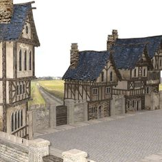 Medieval Street for use in DAZ Studio. Fantasy Town, Planet Coaster, 3d Projects, Tudor, Castles, Planets, Medieval, Buildings, Louvre