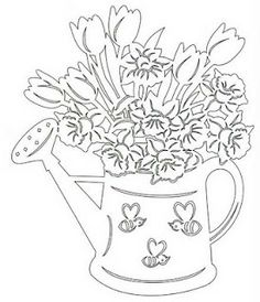 watering can flowers embroidery ile ilgili görsel sonucu Kirigami, Paper Cutting Patterns, Wood Carving Patterns, How To Make Paper, Crafts To Make, Paper Pot, Class Decoration, Hall Decorations, Intarsia Woodworking