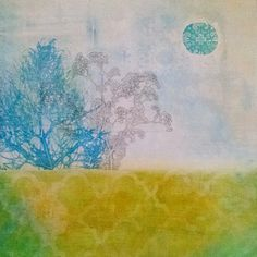 Gelli print on wood panel