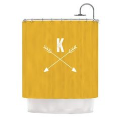 East Urban Home 'Arrow Monogram' Shower Curtain Color: Gold