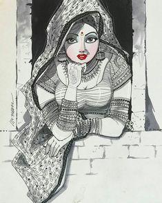 Girly Drawings, Realistic Drawings, Art Drawings Sketches, Indian Illustration, Pattern Illustration, Indian Art Gallery, Kali Goddess, Bridal Poses, Cartoon Girl Drawing