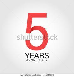 5 years anniversary, signs, symbols. simple design.