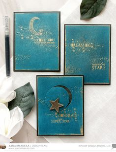 Heat Embossed Stardust Cards 3 Ways with Yana