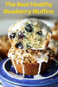 The BEST Healthy Blueberry Muffins. These healthy blueberry muffins are fluffy flavorful and full of healthy ingredients. There are also high protein and vegan options. Gluten Free Blueberry Muffins, Vegan Muffins, Healthy Muffins, Blue Berry Muffins, Homemade Muffins, Homemade Breakfast, Breakfast Ideas, Breakfast Recipes, Healthy Vegan Desserts