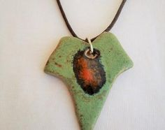 Ivy leaf pendant. Nature green necklace, pottery jewelry, ceramic jewelry