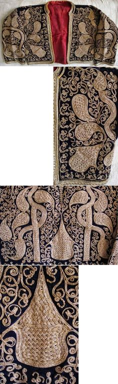Traditional embroidered women's 'cepken' (long-sleeved vest) from the Havran district (in the west of the Balıkesir province).  Early 20th century.  Design: 'armutlu' (= with pear-motif).  Pictures of the front + close-ups of the embroideries on the front and the rear.