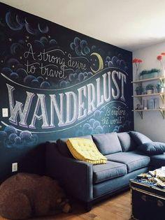 Chalkboard Wall Bedroom, Blackboard Wall, Chalk Wall, Chalkboard Paint, Bedroom Wall, Bedroom Decor, Wall Decor, Chalk Board Wall Ideas, Bedroom Ideas