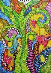 Zentangle Art Art - Let your love grow by Madeleine De Kemp
