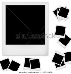 stock vector : Polaroid photo frame isolated on white background. Vector illustration.  I am thinking lighten the black of the Polaroid to a very light gray, so it is recognizable but can be drawn on.