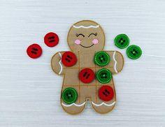 Gingerbread Tic Tac Toe / Noughts & Crosses - Felt TTT Game - Toddler Quite Book Play - Christmas Gift - Learning Gift - Felt Gingerbread