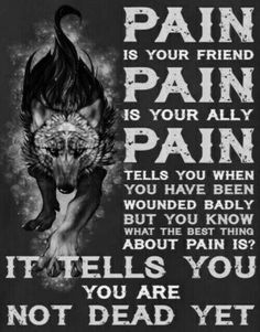 Pain is part of life and us but the hard part is how we deal with it that matters, a wolf will never show pain easily. Dark Quotes, Wisdom Quotes, True Quotes, Great Quotes, Motivational Quotes, Inspirational Quotes, Lone Wolf Quotes, Wolf Qoutes, Viking Quotes