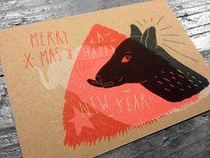 Risoprint - Risograph - mimeograph - duplicator - soja inkt - soy - fluoriscent orange - wit - zwart - illustratie door VanLien & Frissetypes - Merry X mas - Happy new year - www.dekijm.nl