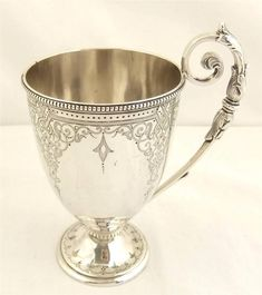 Beautiful engraved Victorian sterling silver mug London 1870