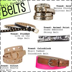 Belts in all patterns and styles.