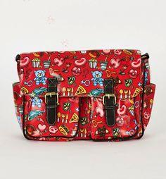 RED Printed Zip Fastening Satchel Bag College and School Bags, Messenger Bags UK