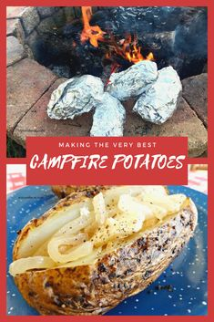 These campfire baked potatoes are one of our favorite camping dishes. We use open fire cooking with coals to make these easy and delicious campfire potatoes. Campfire Potatoes, Campfire Food, Campfire Recipes, Easy Camping Recipes, Easy Meals, Cooking Baked Potatoes, How To Cook Potatoes, Camping Dishes, Camping Meals