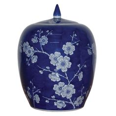 Chinese Bai Mei Blue and White Ginger Jar #ChineseAccessories