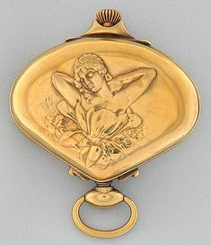 Antique Pocket Watches Fan-Shaped Sector: Fine Swiss silver gilt Art Nouveau fan-shaped sector watch by the Record Watch Co. circa 1900.