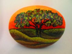 Painted rock Tree with Sunset by PlaceForYou on Etsy