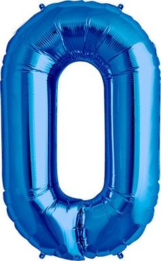 """Giant Blue Foil Number 0 Balloon 34"""""""
