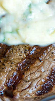 Garlic butter steak. I'm in the mood for a great rib eye!!