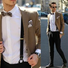 Burberry White Oxford Shirt, H&M Trousers With Suspenders, Hugo Boss Dress Shoes   Boss Selection, Massimo Dutti Pocket Square, Ray Ban Turtoise Clubmaster