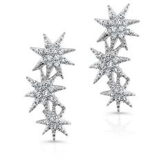 Anne Sisteron  14KT White Gold Diamond Triple Starburst Earrings ($520) ❤ liked on Polyvore featuring jewelry, earrings, white, diamond jewellery, white jewelry, star jewelry, diamond earring jewelry and white diamond earrings