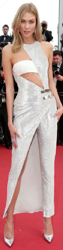 Karlie Kloss in Atelier Versace at the 2015 Cannes Film Festival