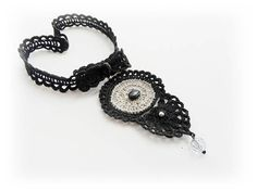 Crochet Choker  Natural Linen Necklace  Black Choker