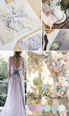 One of the most romantic wedding color combinations for weddings! Lavender and mint, so dreamy! Check out all our newest 2017 wedding color inspiration - Rustic laser cut wedding invitation - Lavender and white boho wedding invite {Lavender design - Sku: LavBar01}
